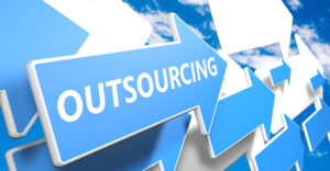 Outsourcing 3d render concept with blue and white arrows flying upwards in a blue sky with clouds