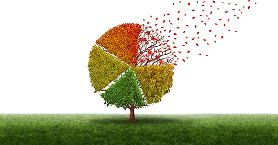 Corporate change and changing market concept and losing business pie chart as an aging green tree with leaves turning yellow to red and falling off as a transition metaphor in transformation conditions as a financial graph chart.